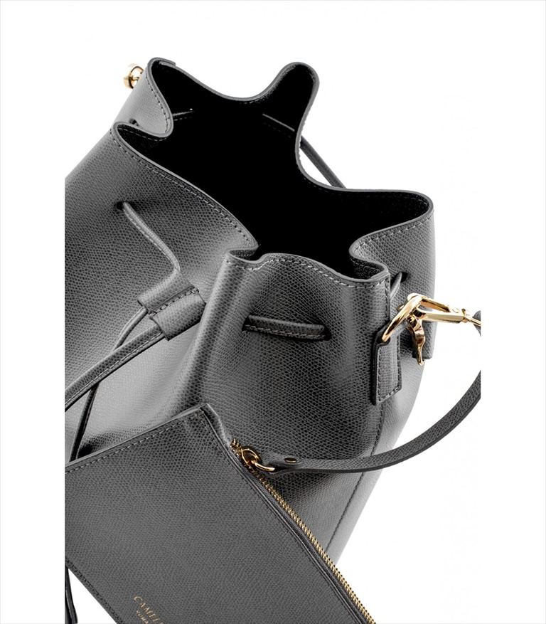 GRAINED LEATHER BUCKET BAG SECCHIELLO_0014_GR COLOR: GREY