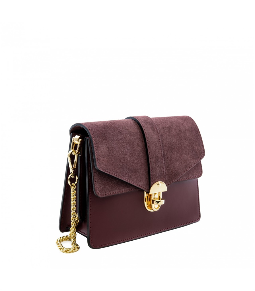 LEATHER AND SUEDE CROSSBODY BAG TRACOLLA_0044_BO COLOR: RED WINE