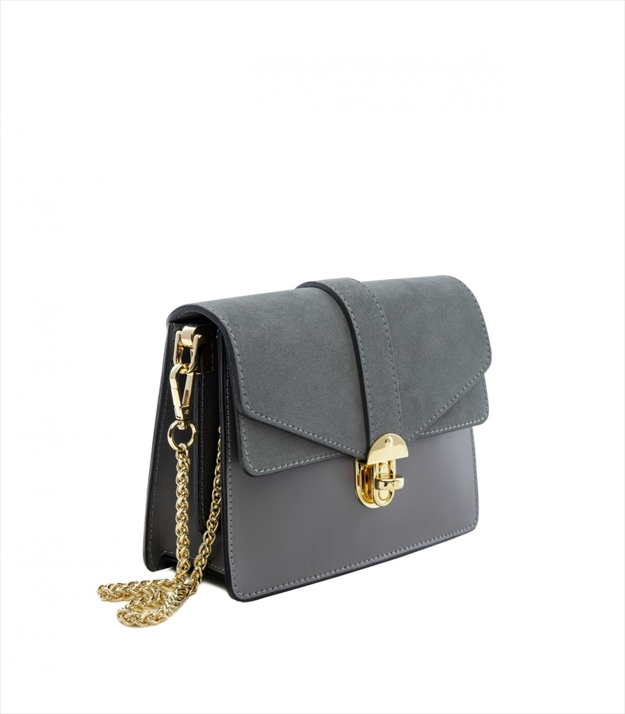 LEATHER AND SUEDE CROSSBODY BAG TRACOLLA_0044_GR COLOR: GREY