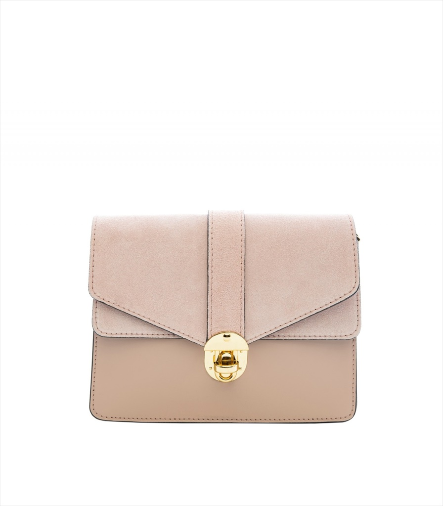 LEATHER AND SUEDE CROSSBODY BAG TRACOLLA_0044_CA COLOR: CAMEO
