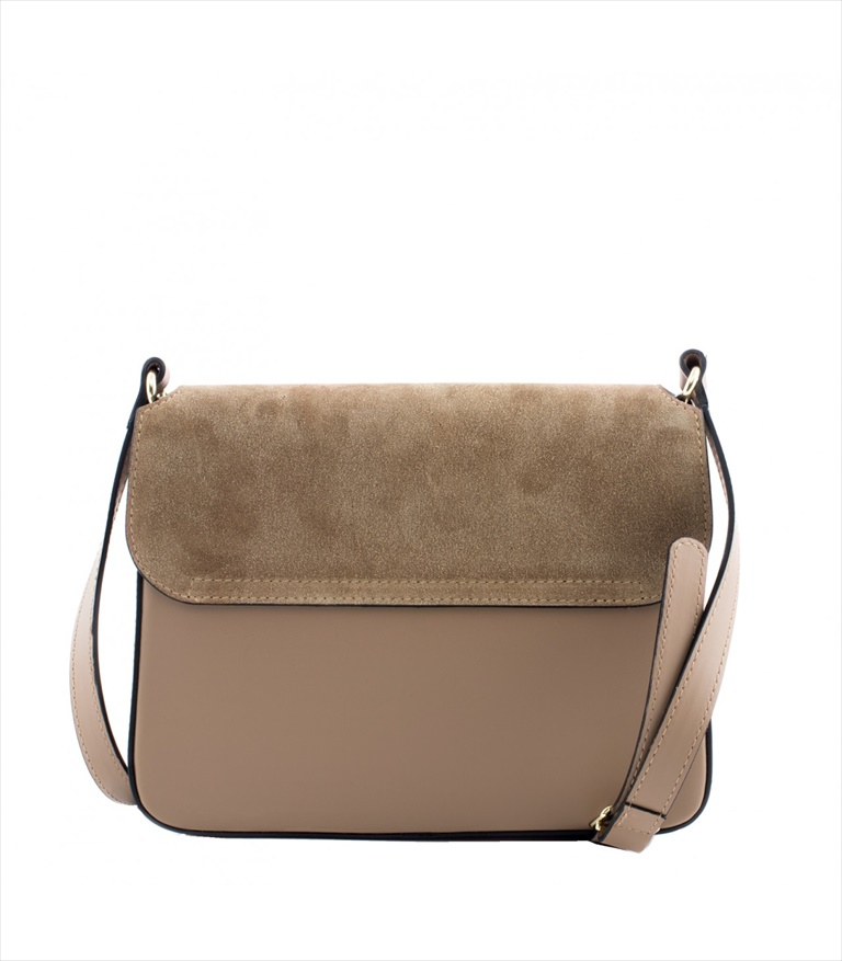 LEATHER AND SUEDE CROSSBODY BAG TRACOLLA_0033_TA COLOR: TAUPE