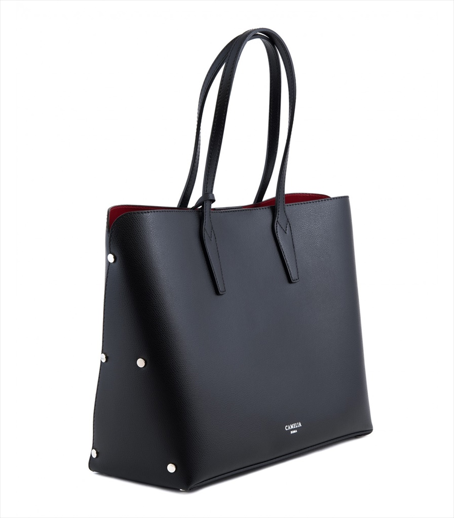 GRAINED LEATHER TOTE BAG SHOPPING_0011_NE COLOR: BLACK