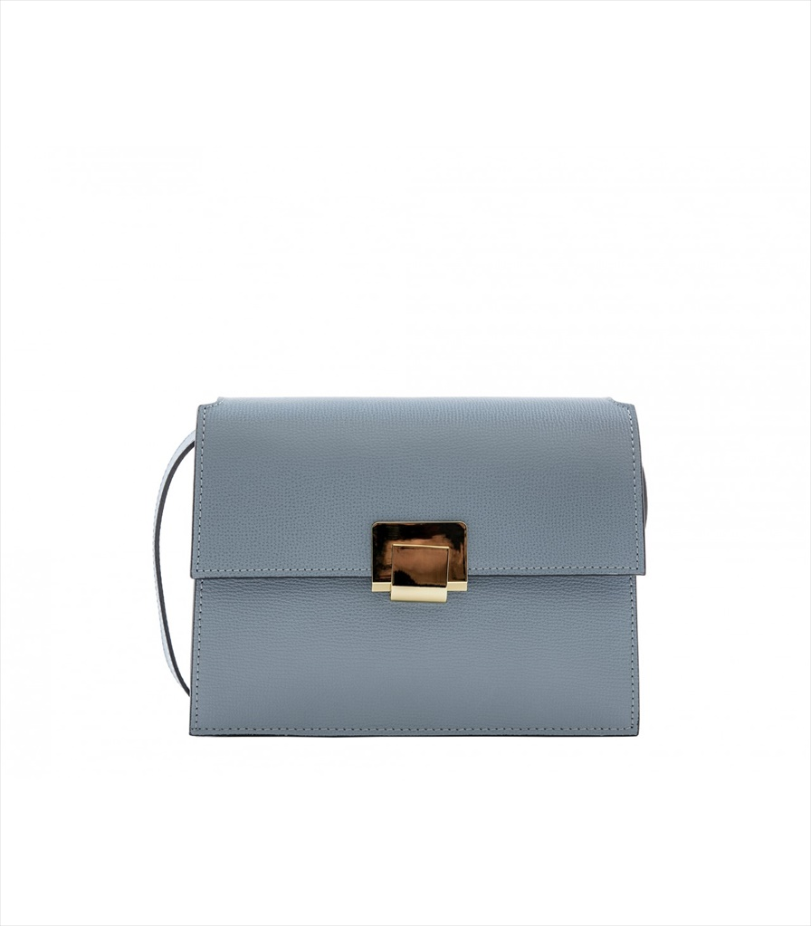 GRAINED LEATHER SHOULDER BAG TRACOLLA_0045_CL COLOR: LIGHT BLUE