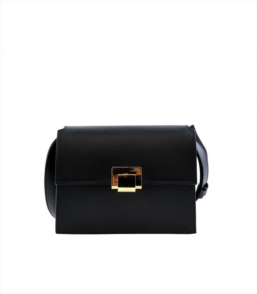 GRAINED LEATHER SHOULDER BAG TRACOLLA_0045_NE COLOR: BLACK
