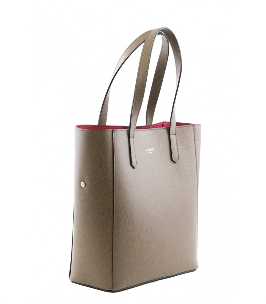 GRAINED LEATHER TOTE BAG SHOPPING_0012_KH COLOR: KHAKI