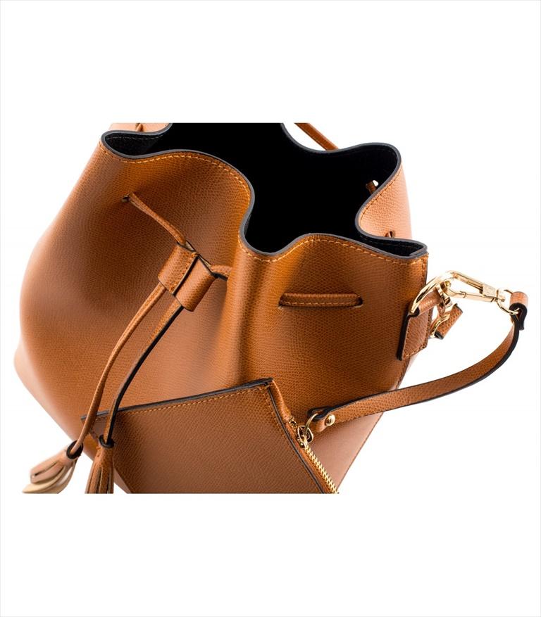 GRAINED LEATHER BUCKET BAG SECCHIELLO_0014_CU COLOR: LIGHT BROWN