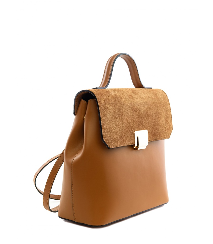 LEATHER AND SUEDE BACKPACK ZAINETTO_0015_CU COLOR: LIGHT BROWN
