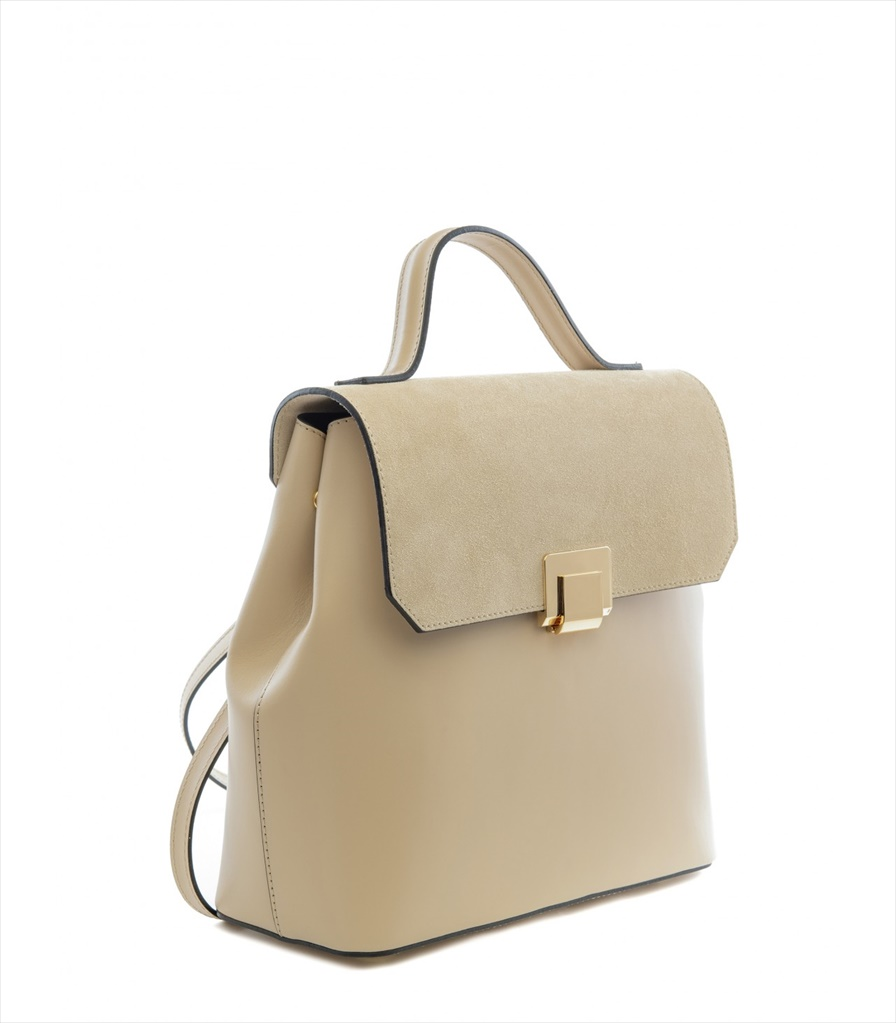 LEATHER AND SUEDE BACKPACK ZAINETTO_0015_PA COLOR: CREAM