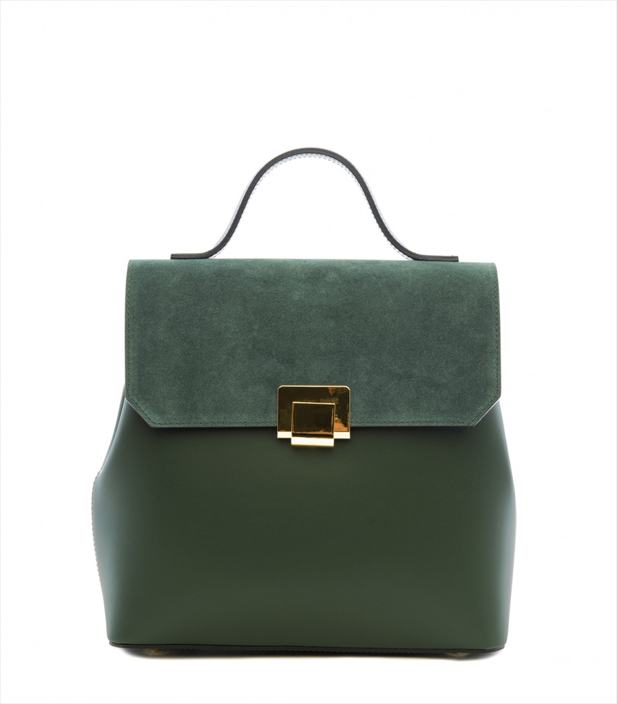 LEATHER AND SUEDE BACKPACK ZAINETTO_0015_VE COLOR: GREEN