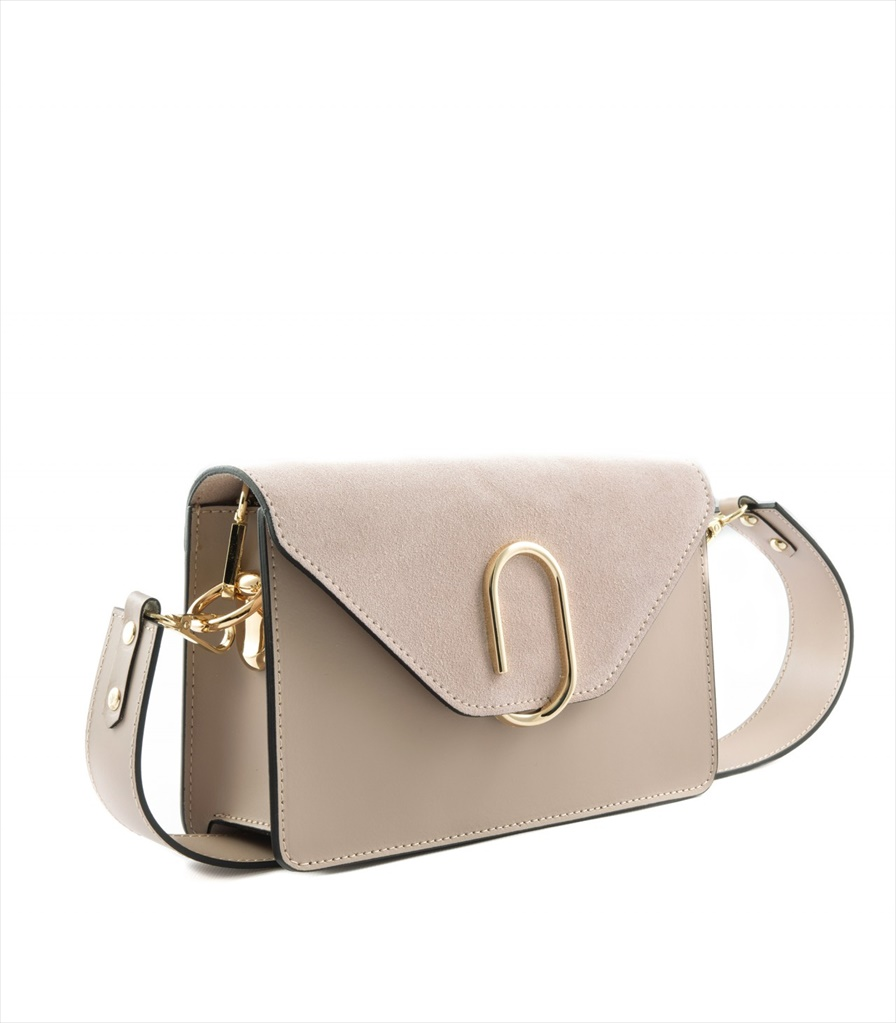 LEATHER AND SUEDE CROSSBODY BAG TRACOLLA_0038_CA COLOR: CAMEO