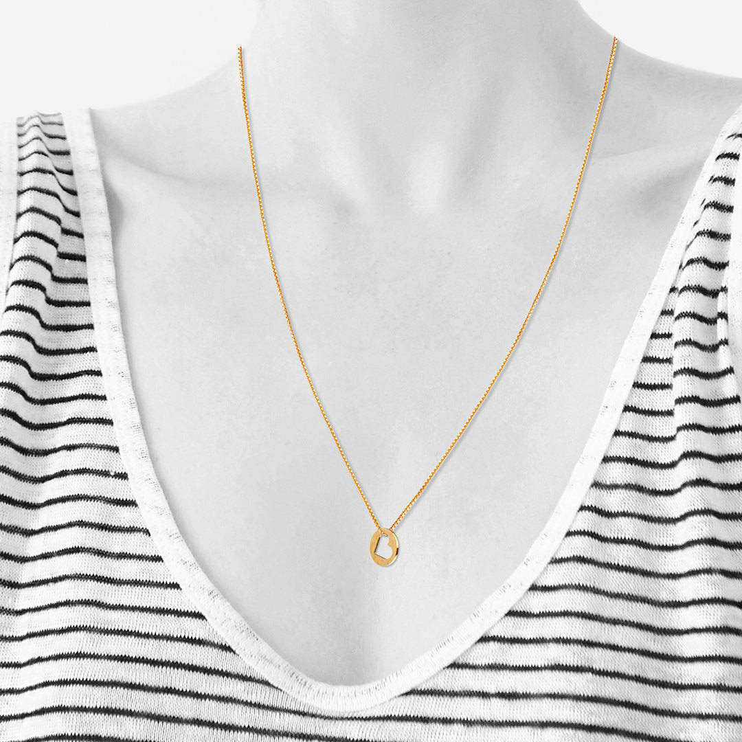 HEART outline necklace【GOLD】