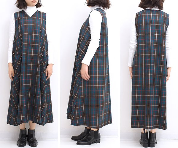 Sarahwear サラウェア チェック Vネックジャンパースカート C4211 レディース【送料無料】