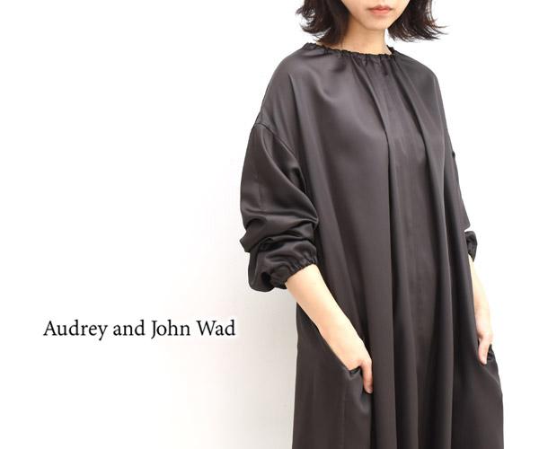 【40%OFF】【セール】Audrey and John Wad オードリーアンドジョンワッド サテンスモックロングワンピース H5406 レディース【送料無料】【返品・交換不可】