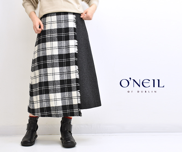 O'NEIL OF DUBLIN オニールオブダブリン ツイードタータンチェック コンビラップフレアスカート C807 レディース【送料無料】