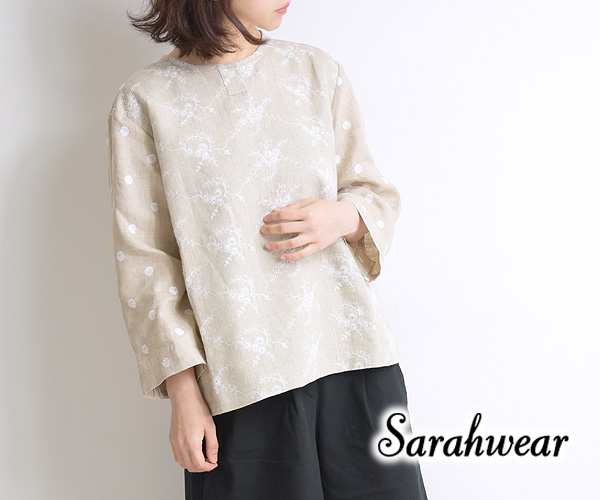 Sarah Wear サラウェア 刺繍リネンプルオーバーブラウス C52702 レディース【送料無料】【クリックポスト可】