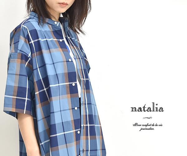 natalia ナターリア ビックチェックバンドカラーシャツワンピース N3220 レディース