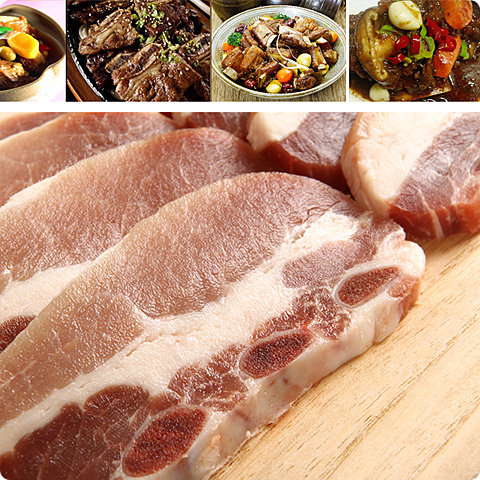 [凍]豚カルビスライス(骨付き)約1kg-メキシコ産