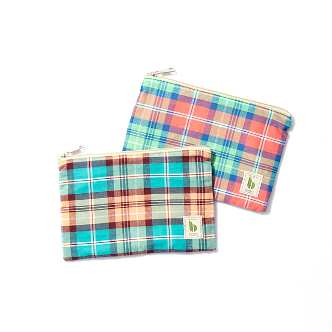 BIMO 【ビモ】<br>Mini pouch<br>Check Collection<br>Lサイズ