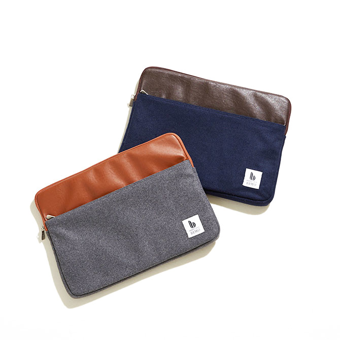 BIMO 【ビモ】<br>Notebook Zip Case<br>Melton Wool × PU Leather<br>13インチ