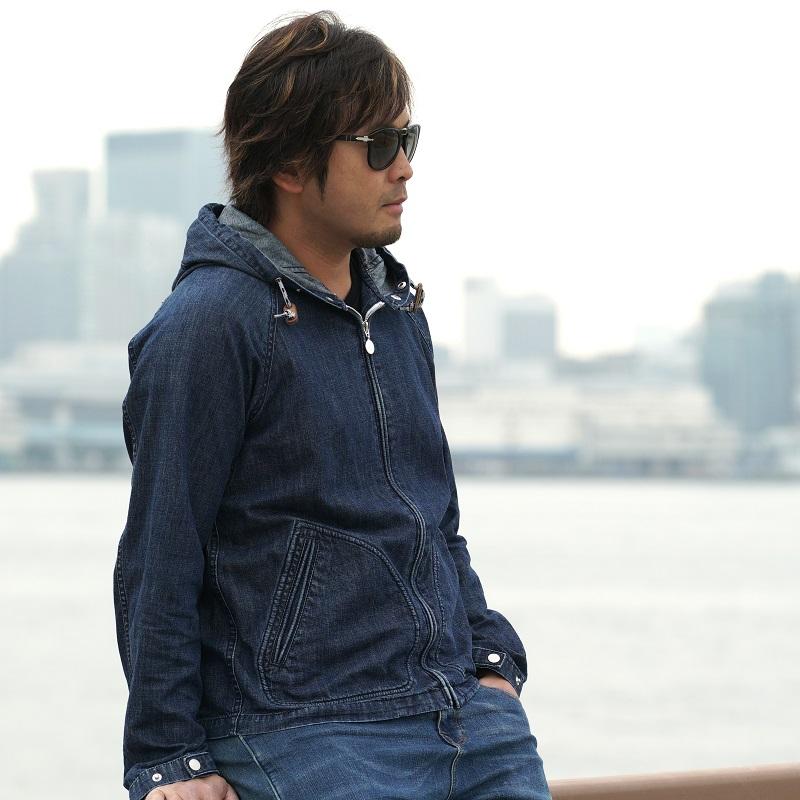 &.SCAPE Hooded denim jacket