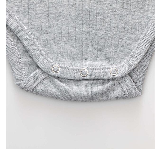 Cozy リブ編み  ロンパース(Pale グレー)