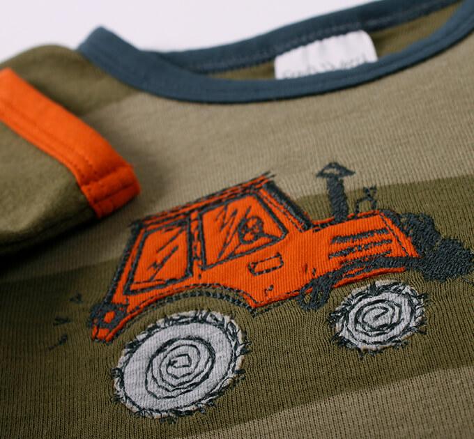 グリーンコットン( Fred's world by Green Cotton )オーガニックコットン Tractor ストライプ 長袖Tシャツ