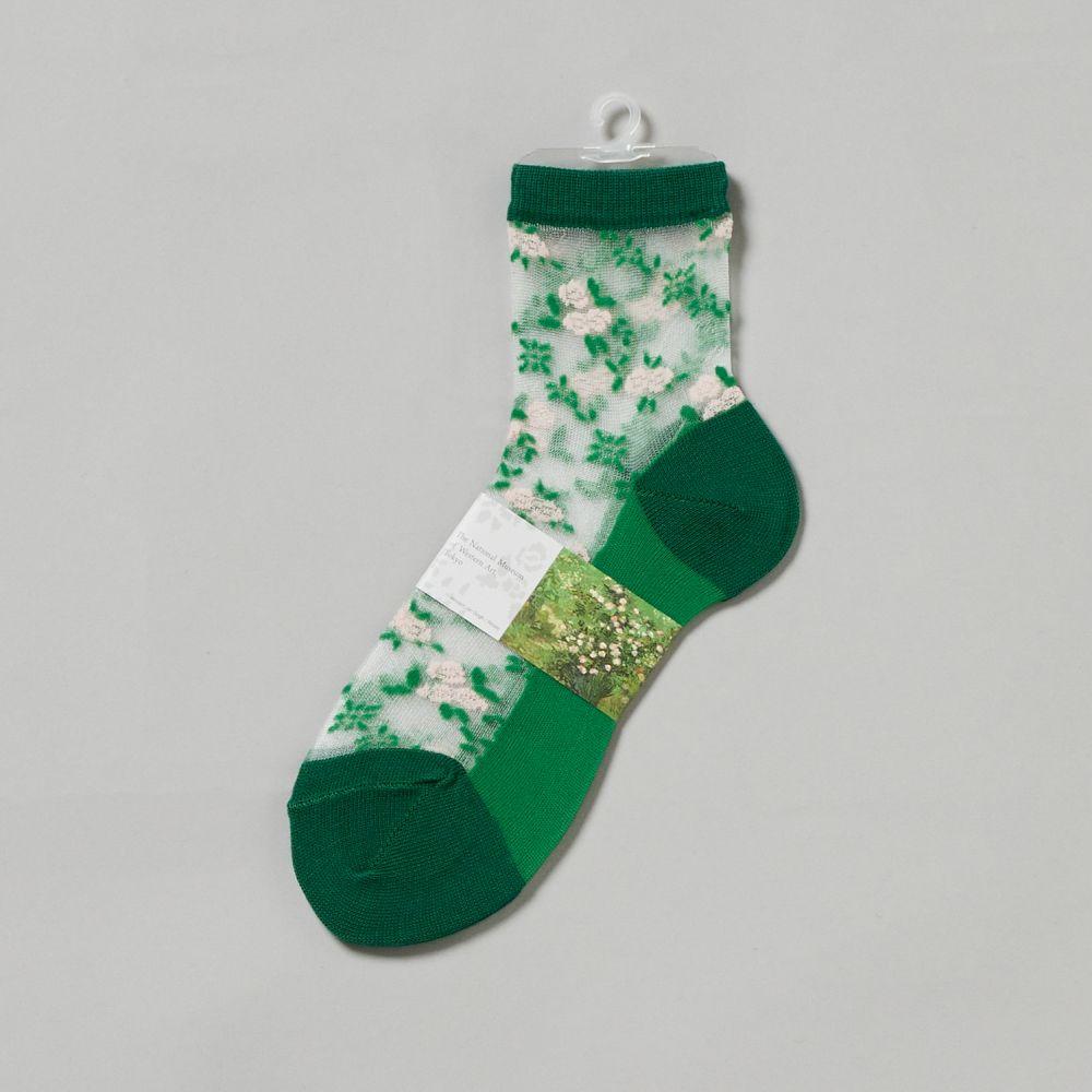 靴下シースルー ばら・緑
