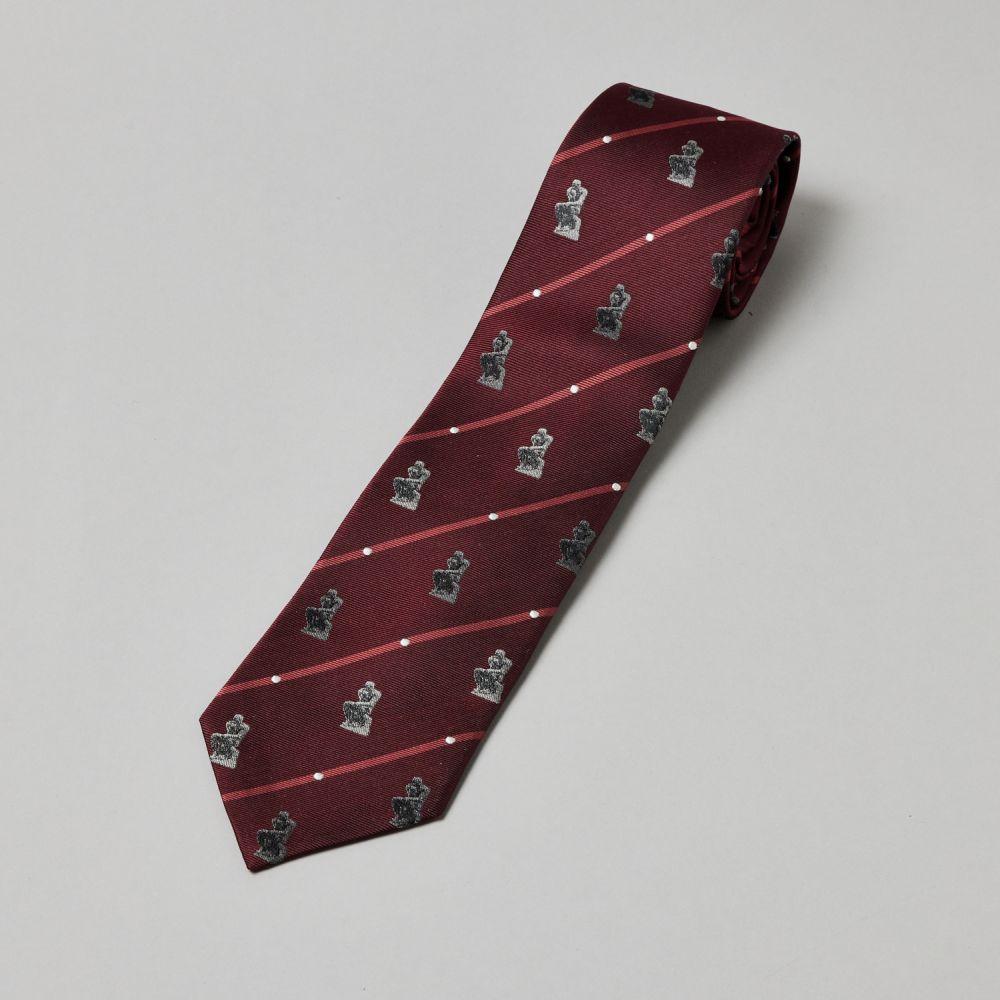 ネクタイ考える人 織り ドット赤