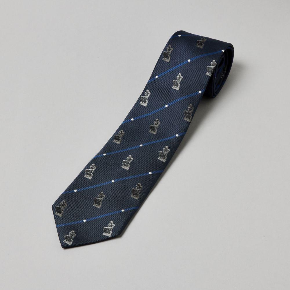ネクタイ考える人 織り ドット紺