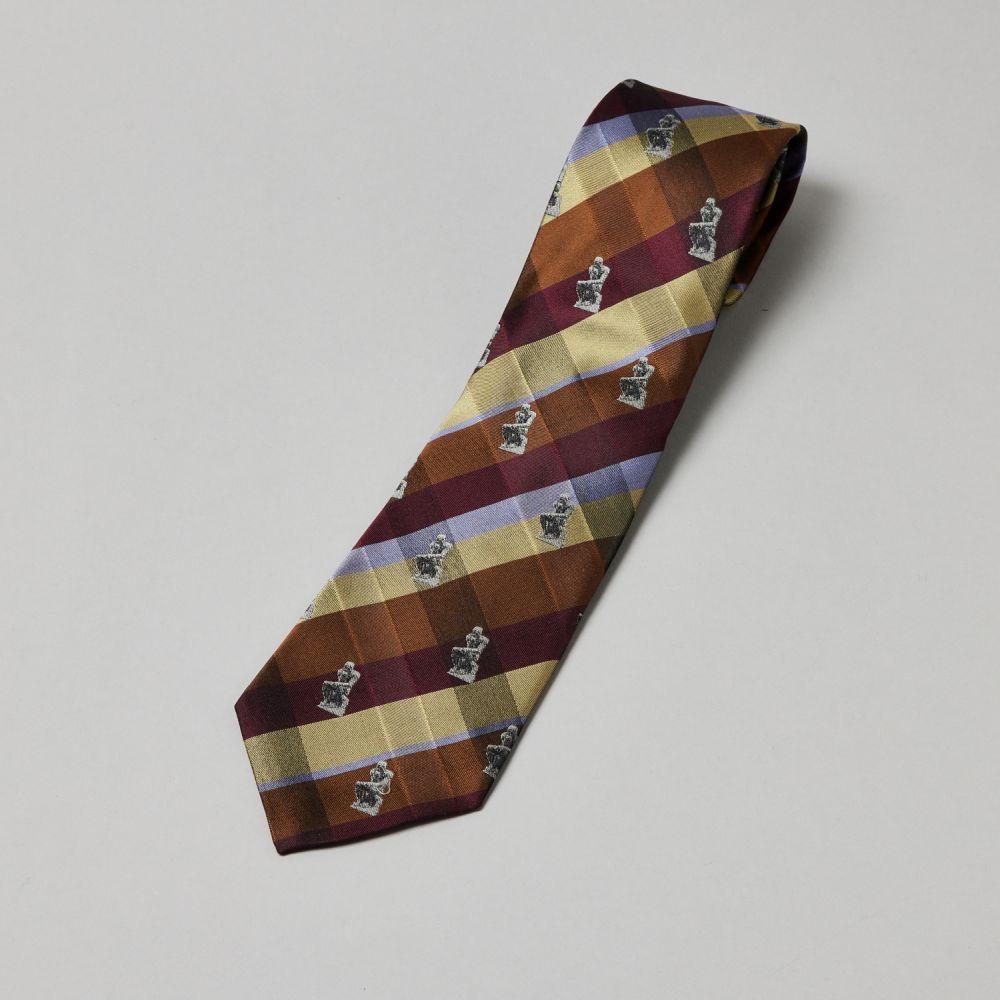 ネクタイ考える人 織り チェック黄