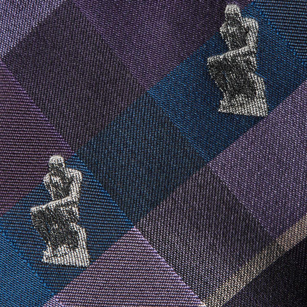 ネクタイ考える人 織り チェック紫