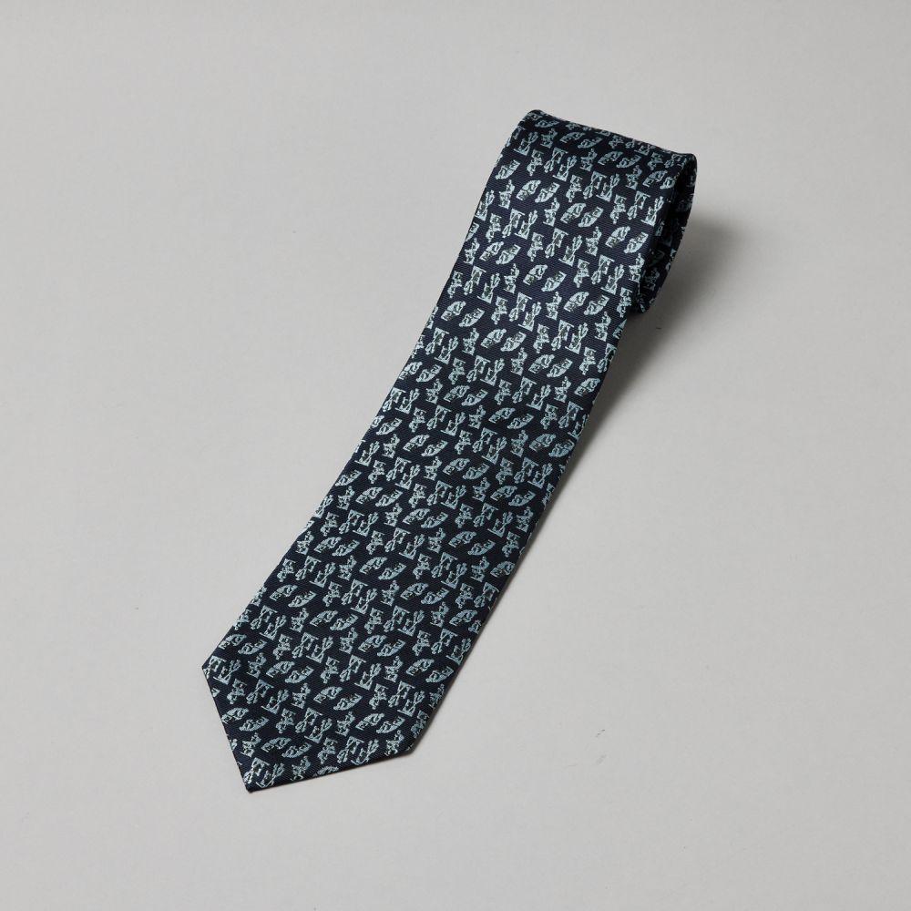 ネクタイ考える人 織り 紺