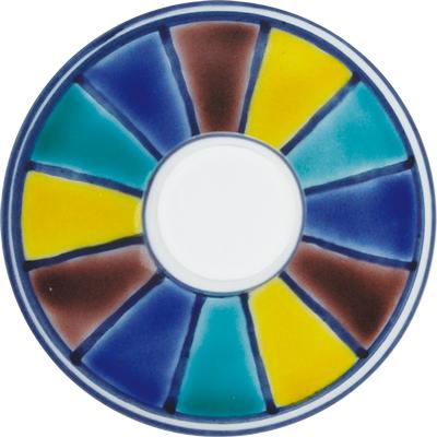 デザートグラス大(斜)色絵十草文ブルー