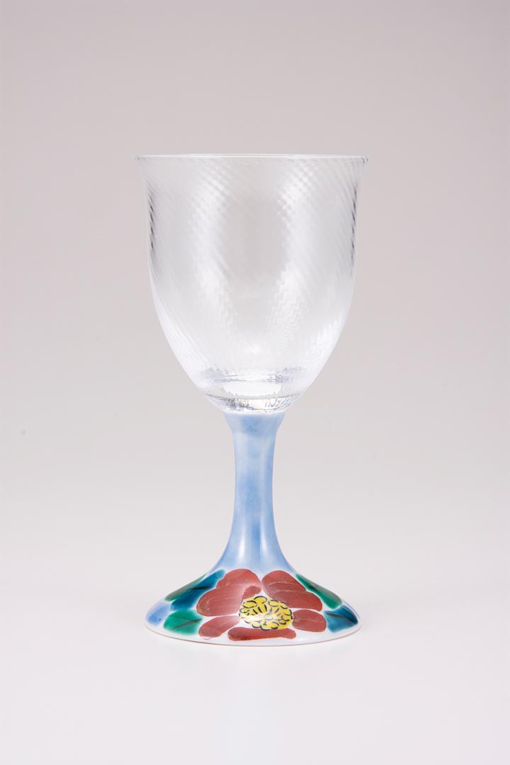 ワイングラス小(斜)山茶花ブルー