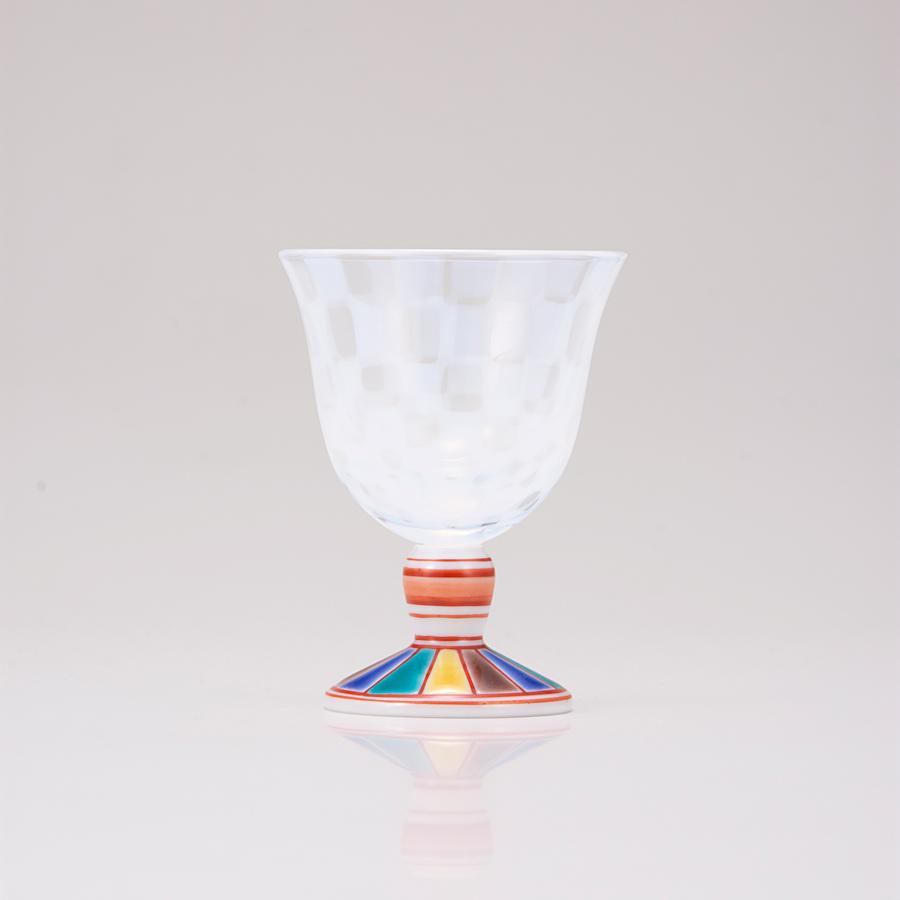 冷酒グラス(オパール)色絵十草文レッド