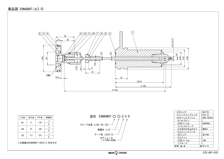 ホットランナプローブ バルブゲートシステム EVN40シリーズ G=2.0  標準品
