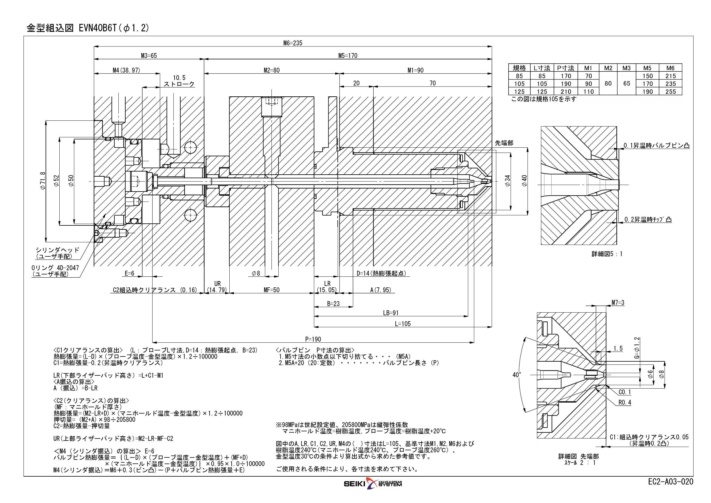 ホットランナプローブ バルブゲートシステム EVN40シリーズ G=1.2  特注品