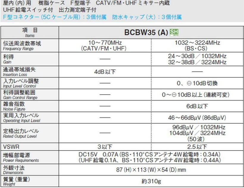 【送料無料】マスプロ 4K・8K対応 BS(CS) ブースター BCBW35(A)