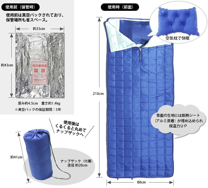 防災備蓄用の真空圧縮 寝袋