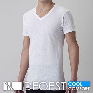 【COOL】[デオエスト(DEOEST)] Men's 消臭アンダーシャツ・綿涼感(V首)[型番:IDA24]