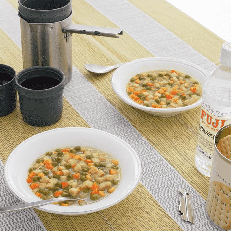 [大缶] バラエティセット(6缶詰合/クラッカーx2 チキンシチューx1 野菜シチューx1 とり雑炊x1 えび雑炊x1)[6缶セット]|サバイバルフーズ(約60食相当量)(※日経通販歳時記掲載商品)