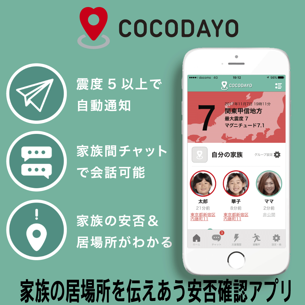 防災アプリ「ココダヨ」|災害の時だけ、家族の居場所を伝えあうスマホ用の安否確認アプリです(※DLアプリ商品のため「買い物カゴ」は利用できません)