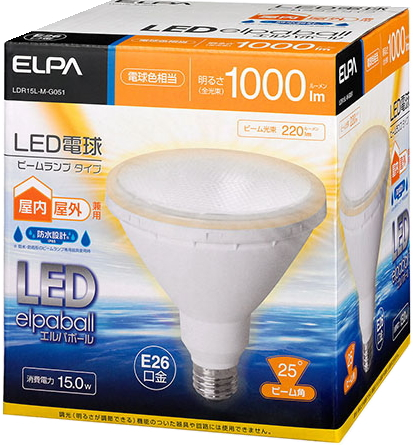 エルパ(ELPA)LDR15L-M-G051<電球色>ビームランプ形LED電球<100w形・E26口金>