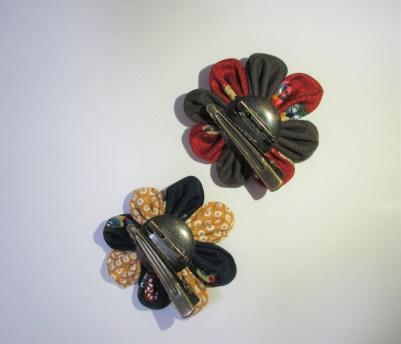 つまみ細工ブローチ&髪飾りセット