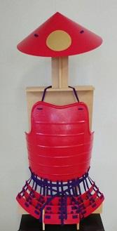 鎧・兜 甲冑組立キット 赤色具足 『足軽』          鋳物風 塗装仕上げ
