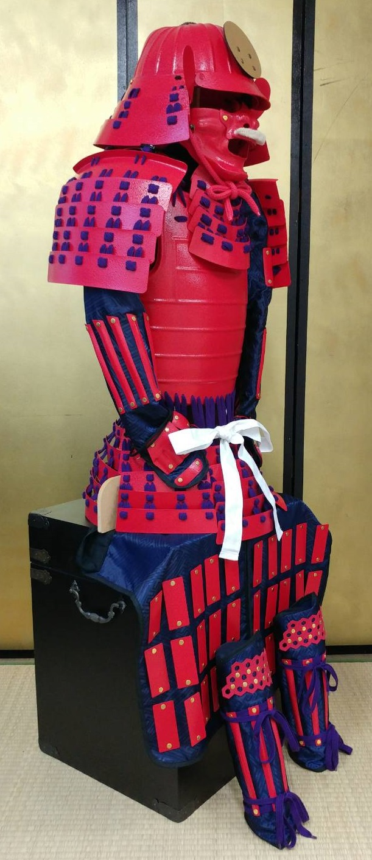 フルセット甲冑組立キット 赤色二枚胴具足 武将『和』    鋳物風 塗装仕上げ