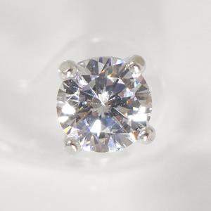 【早い者勝ち】SV925 誕生石カラーピアス(片耳用)6.0mmCZ付 4月水晶  SNP-4