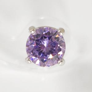 【早い者勝ち】SV925 誕生石カラーピアス(片耳用)6.0mmCZ付 6月ムーン  SNP-6