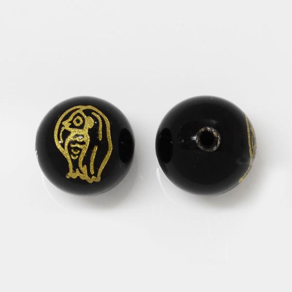 【早い者勝ち】アマビエ彫刻ビーズ10.0mm オニキス ゴールド 1個 OT-A-ONIXG