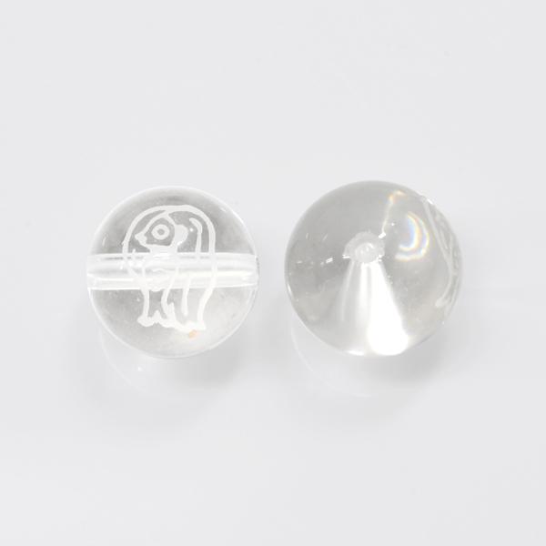 【早い者勝ち】アマビエ彫刻ビーズ10.0mm クリスタル ホワイト 1個 OT-A-WQW